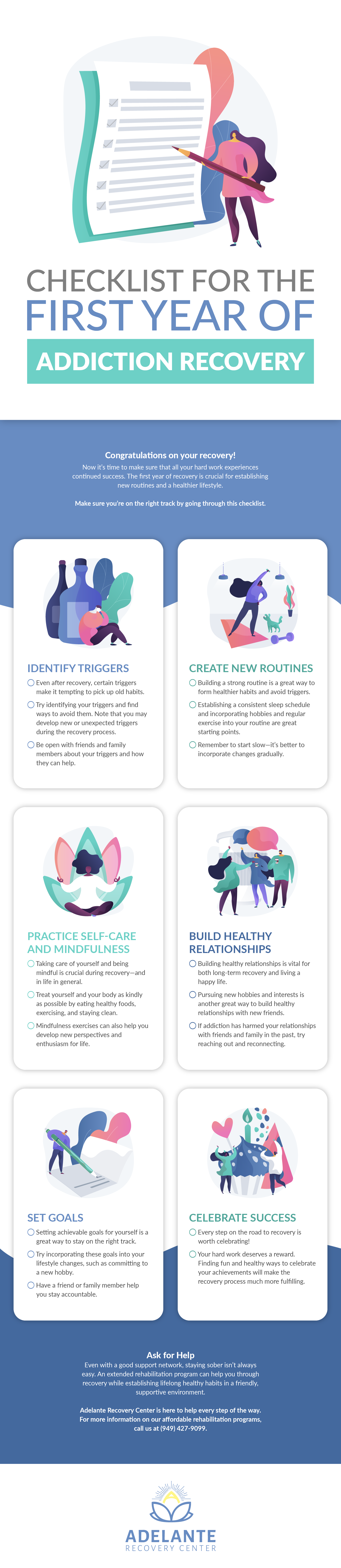 First Year Addiction Recovery Checklist Infographic